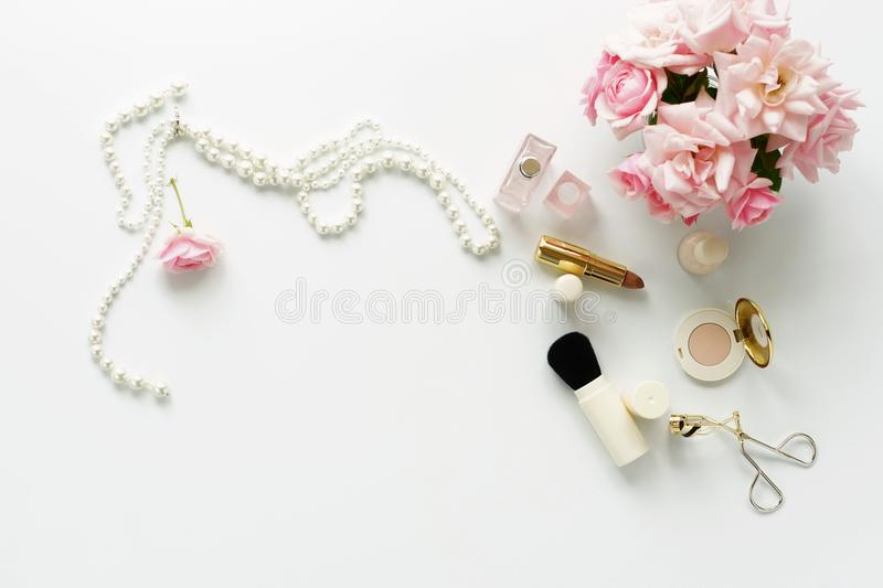 Beauty blog concept. Female make up accessories stock photos