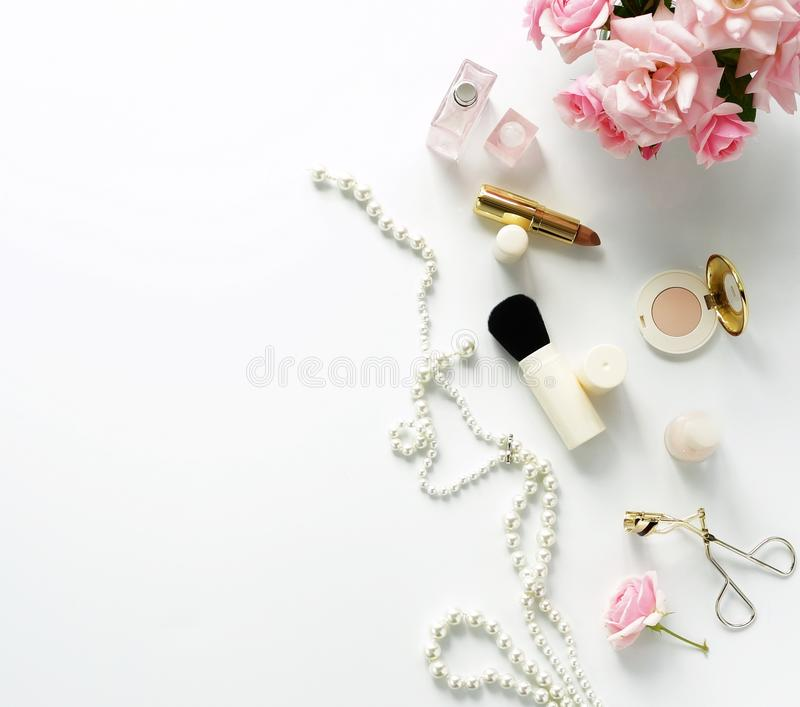 Beauty blog concept. Female make up accessories royalty free stock photography