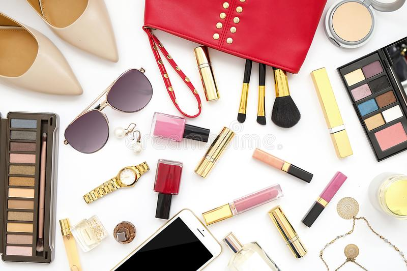 Beauty blog fashion concept. Top view text space royalty free stock images