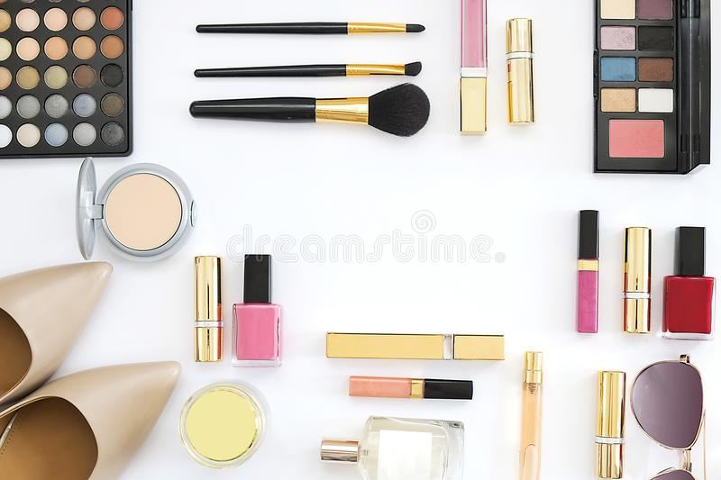 Beauty blog fashion concept. Top view text space stock photography