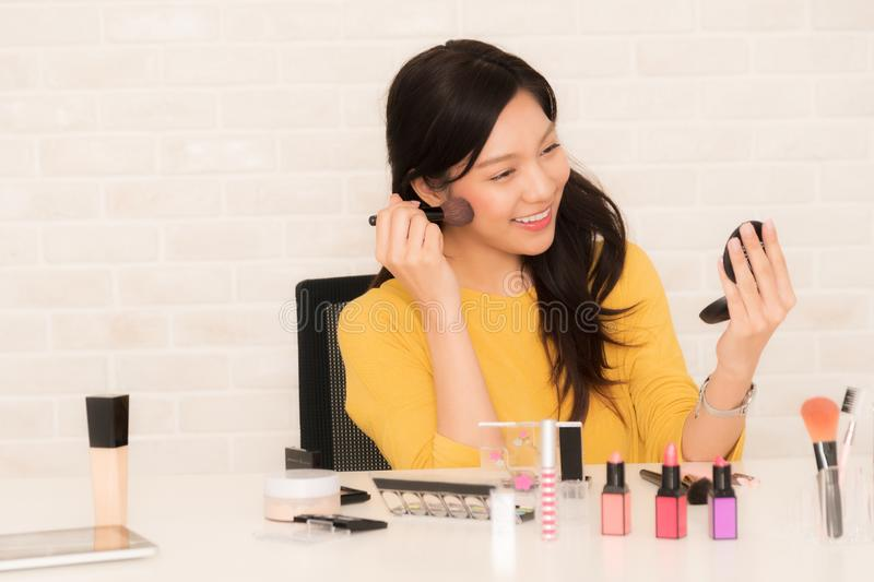 Beauty blogger at social video live stock image