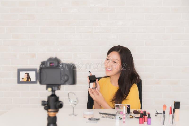 Beauty blogger at social video live royalty free stock image