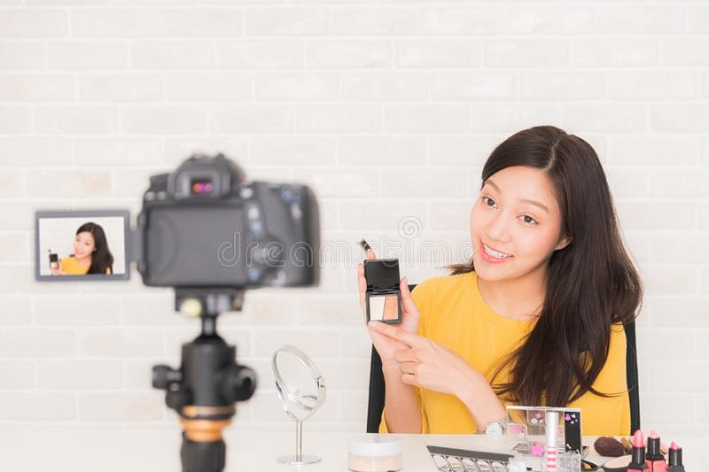 Beauty blogger at social video live royalty free stock photography