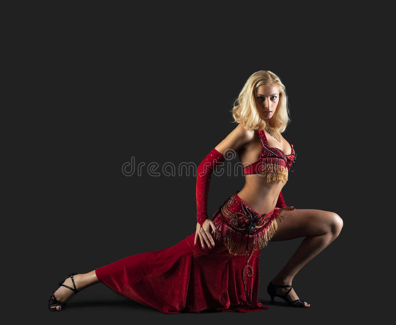 Beauty blond dancer - red oriental arabia costume
