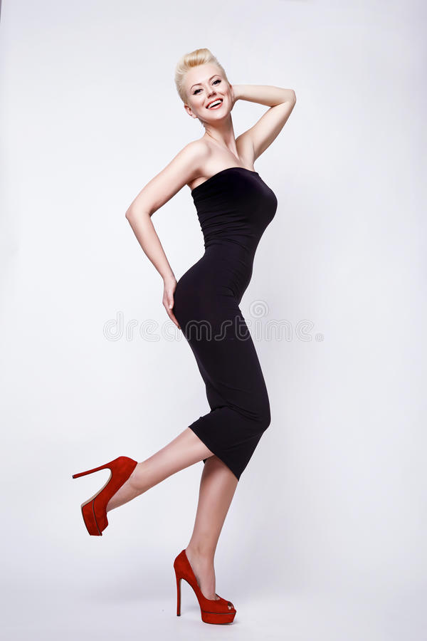 Free Beauty Blond Woman In Skinny Black Dress Pinup Perfect Body Stock Images - 51017364