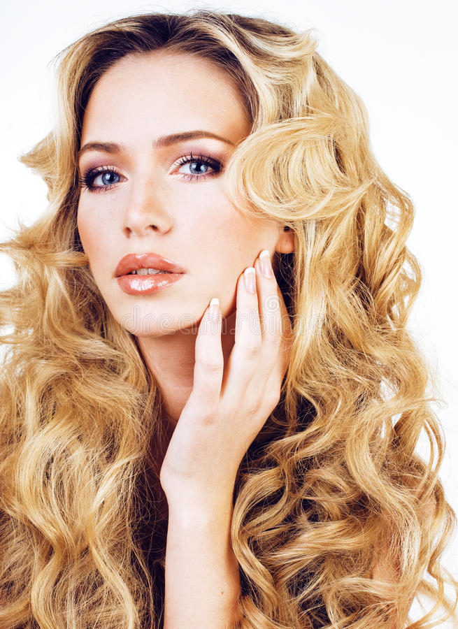 Beauty blond woman with long curly hair close up isolated, hairs stock photos