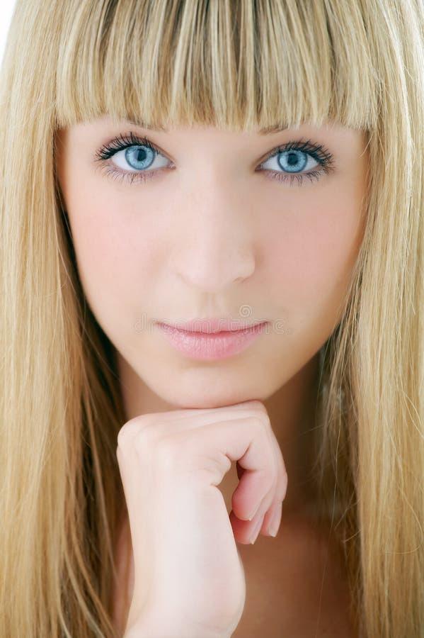 Beauty blonde woman face stock photos