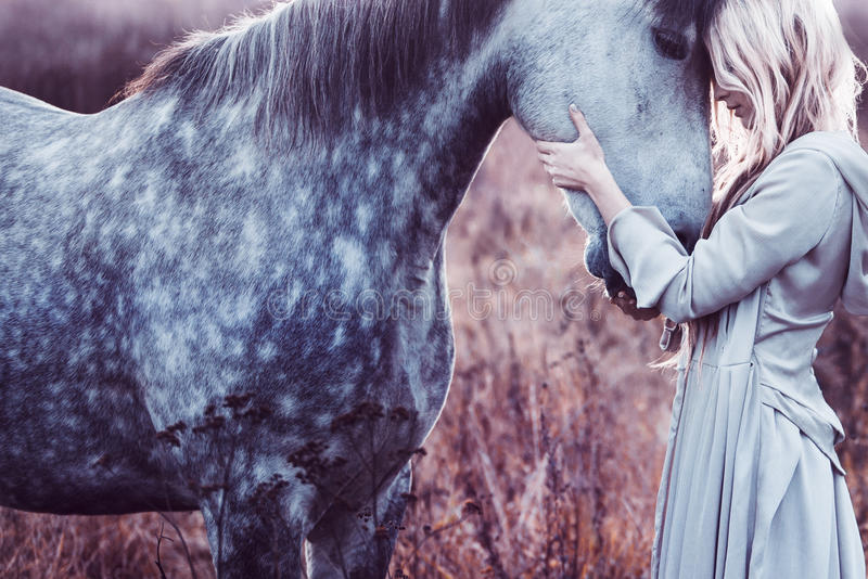 Beauty blondie with horse in the field, effect. Portrait of a beauty blondie with horse royalty free stock photo