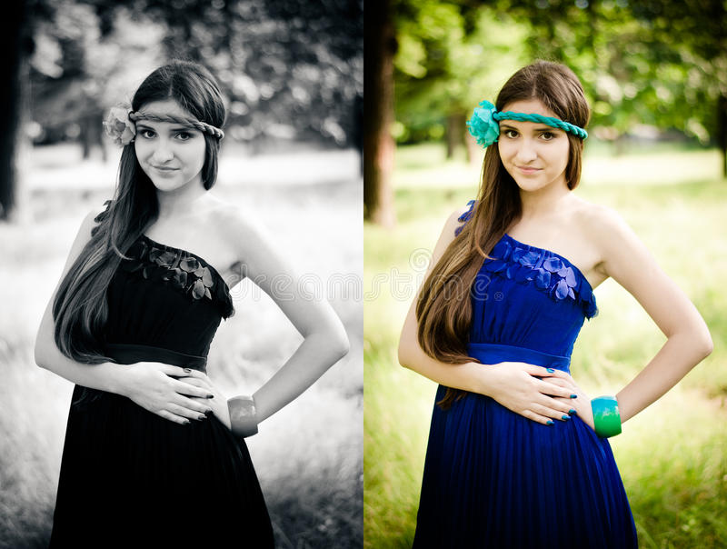 Download Beauty in blue dress stock image. Image of color, girl - 25196531