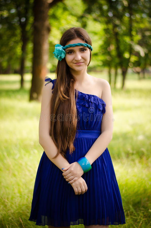 Download Beauty in blue dress stock image. Image of band, fashion - 25197081