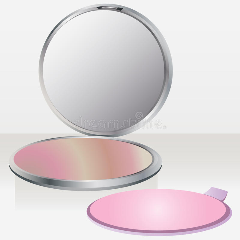 Beauty blush with mirror stock illustration