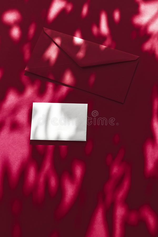 Beauty brand identity as flatlay mockup design, business card and letter for online luxury branding on wine shadow background royalty free stock photos