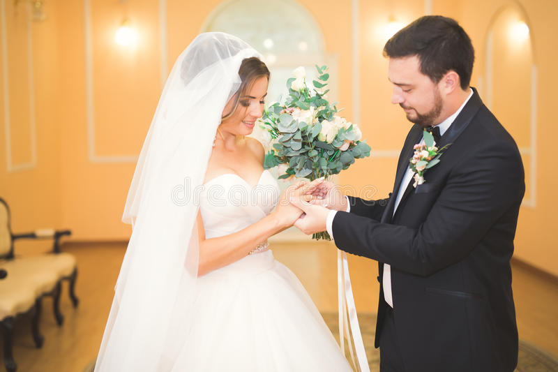 Beauty bride and handsome groom are wearing rings each other. Wedding couple on the marriage ceremony. Beauty bride and handsome groom are wearing rings each stock images