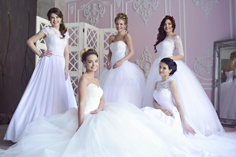Beauty Brides In Bridal Gowns Indoors Stock Photo - Image of ...