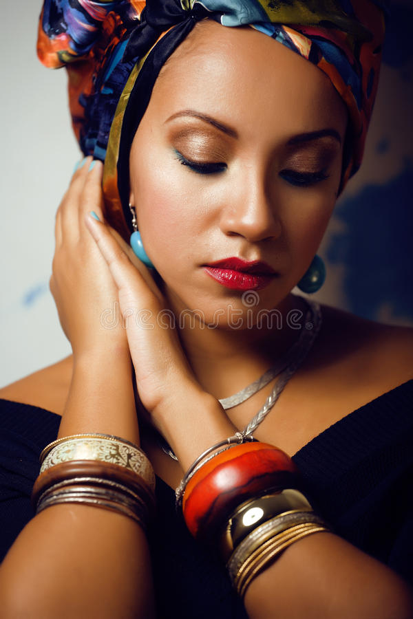 Beauty bright african woman with creative make up stock photo