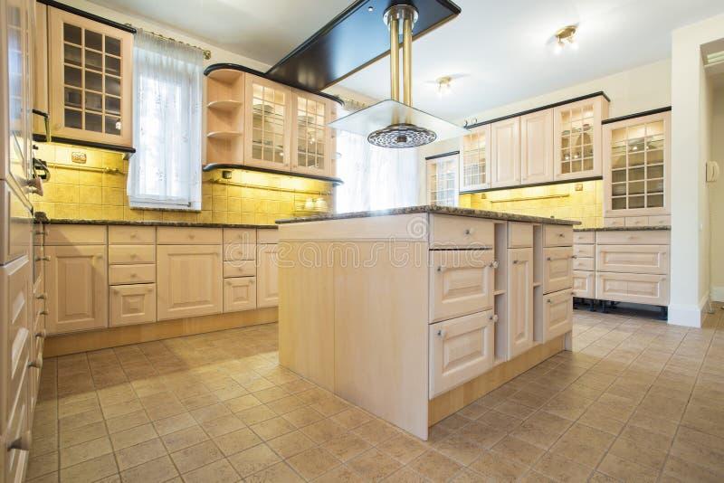 Beauty and bright kitchen interior royalty free stock photos