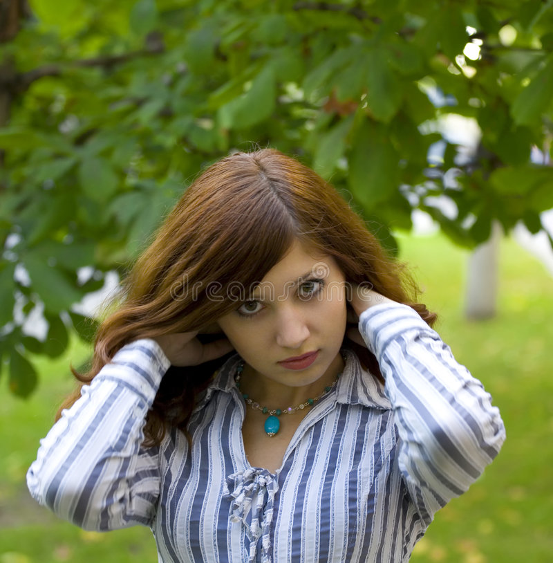 Download Beauty Brunette In A Park Correct You Hairstyle Stock Image - Image: 6163639