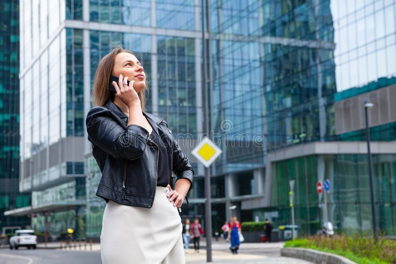 Beauty business woman in city stock photos