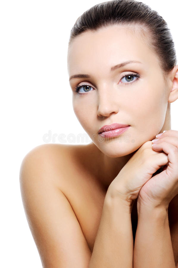 Beauty Calm Caucasian Woman With Purity Skin Royalty Free Stock Photos