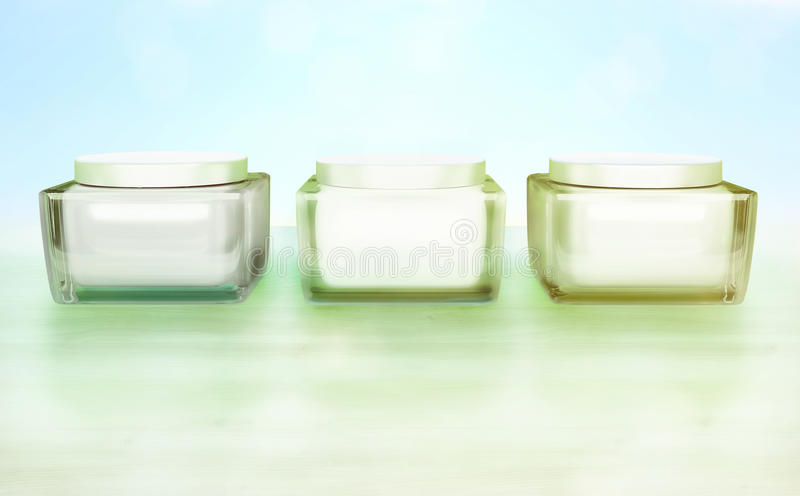 Daily, beauty care cosmetic. Face creams. Skin care. Three Flasks with cosmetic cream on a blue background. Daily, beauty care cosmetic. Face creams. Skin care stock photo