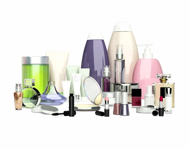 Daily, beauty care cosmetic and make-up products. Face cream, eye cream, serum and lip balm located on a white background. Skin c. Are stock illustration