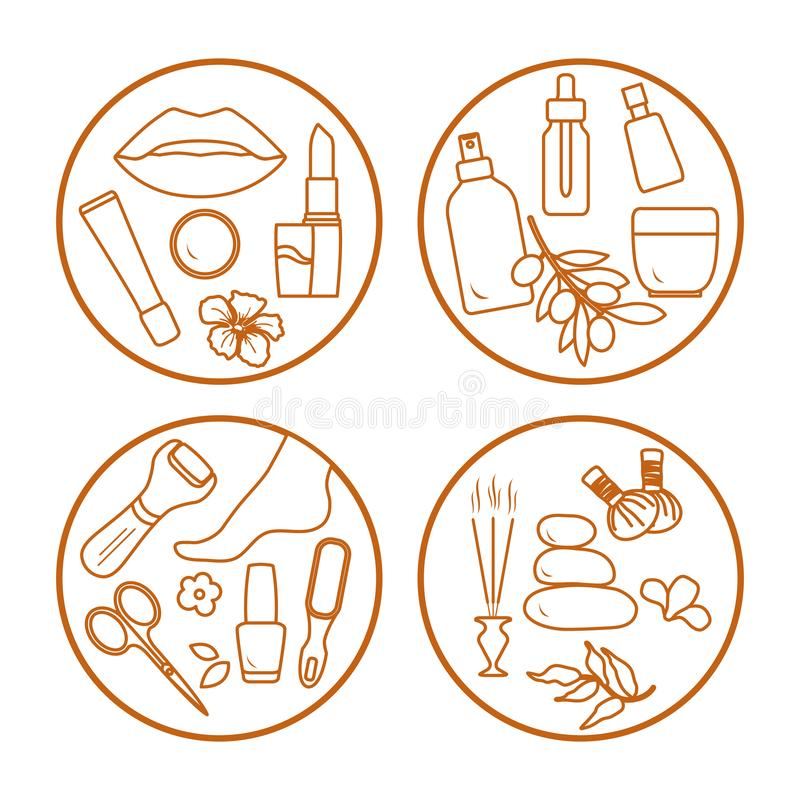 Beauty, care cosmetic products, pedicure, massage. Vector illustration with beauty and care cosmetic products, makeup, pedicure tools, massage accessories royalty free illustration