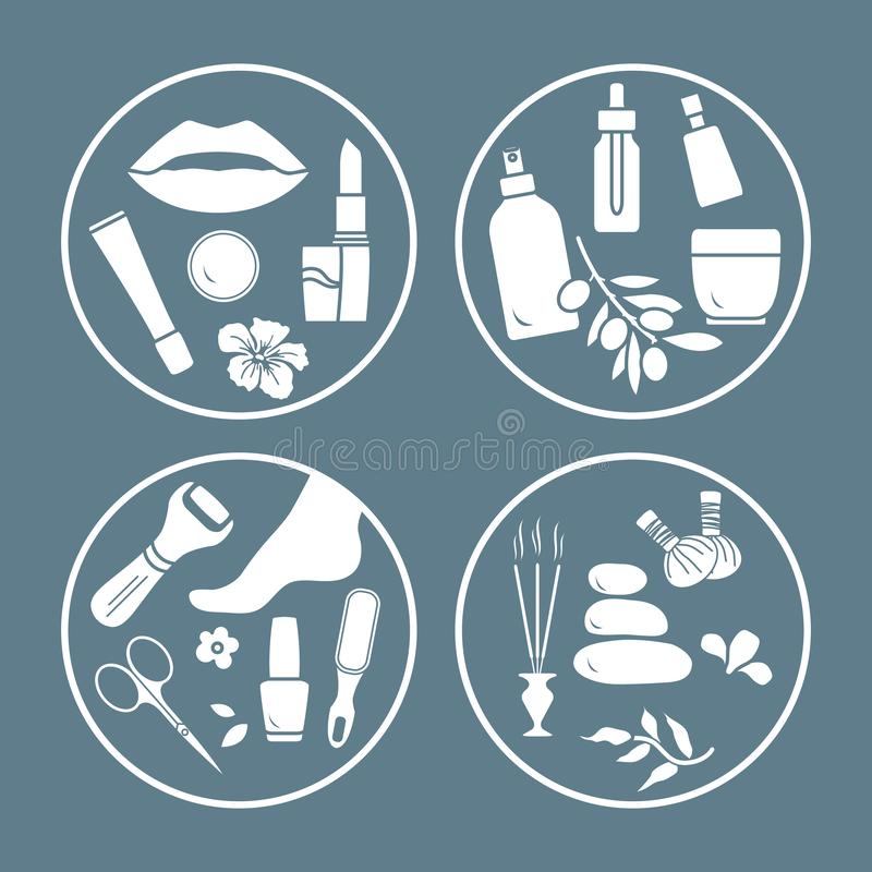 Beauty, care cosmetic products, pedicure, massage. Vector illustration with beauty and care cosmetic products, makeup, pedicure tools, massage accessories stock illustration