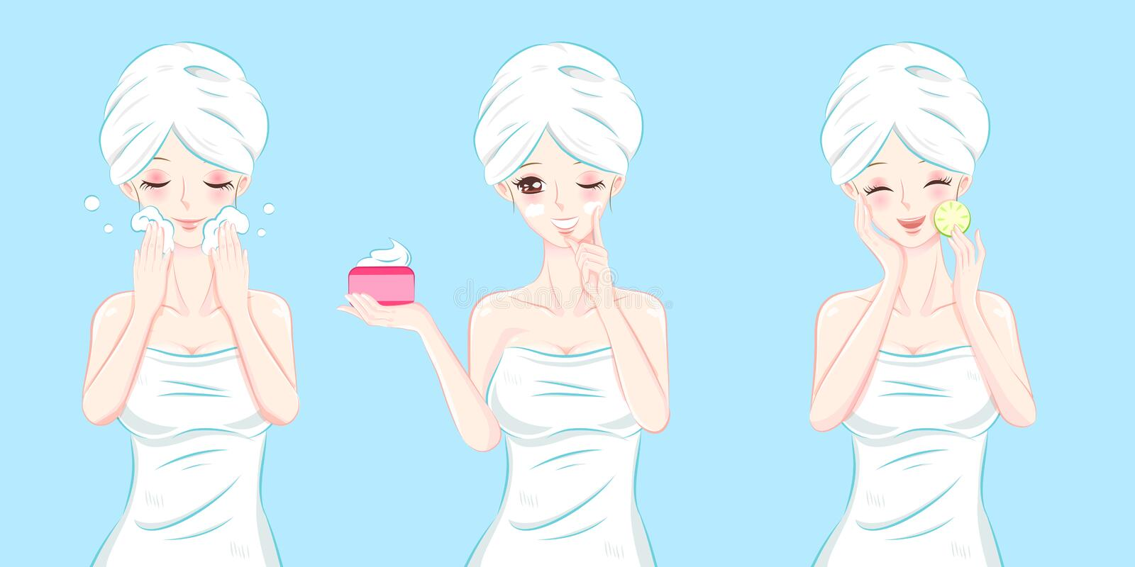 Beauty cartoon skin care woman. On the blue background vector illustration