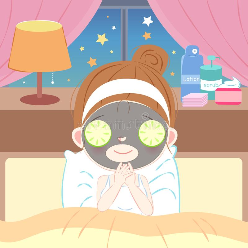 Beauty cartoon skin care woman. With mask at night royalty free illustration