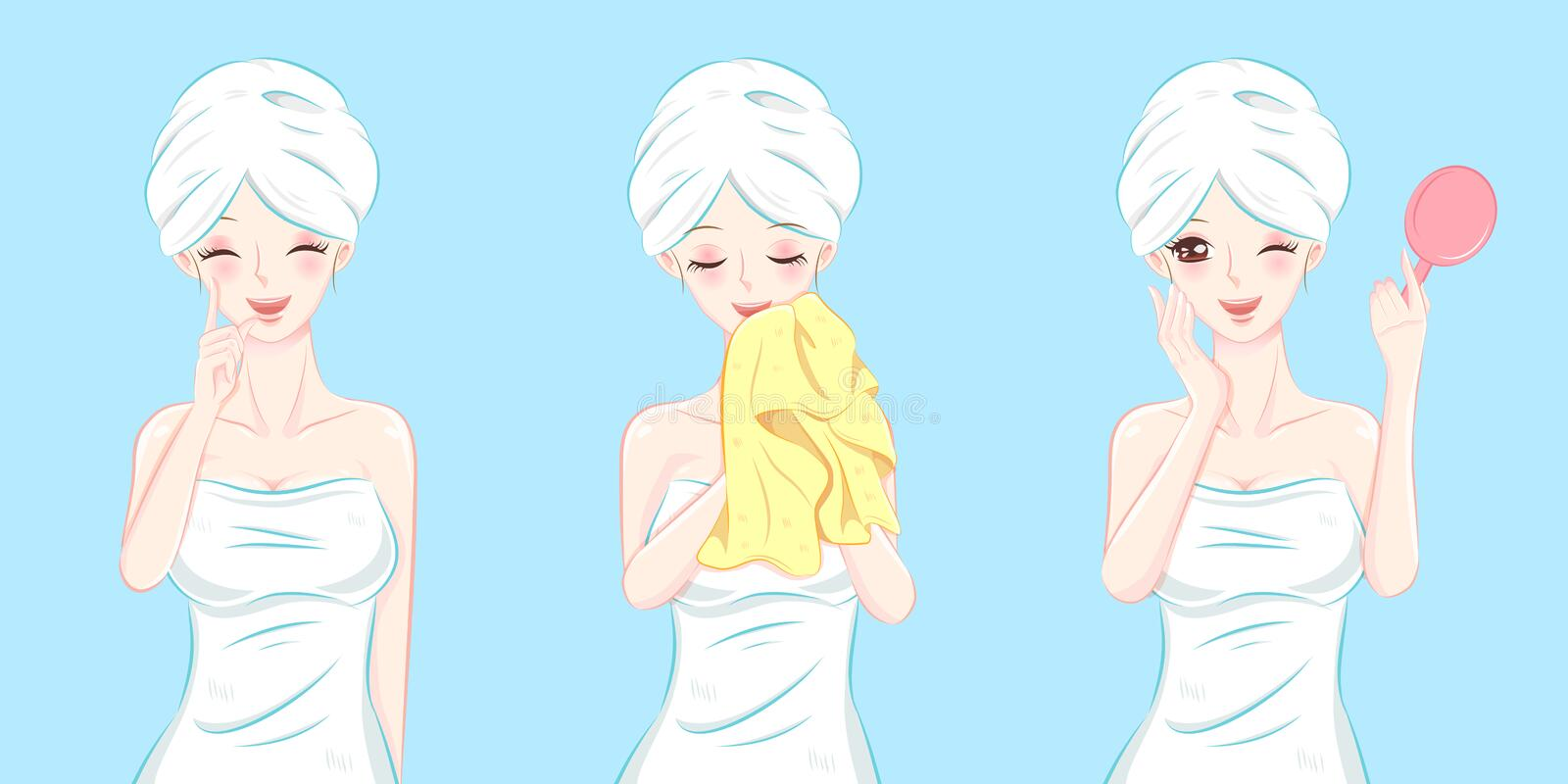 Beauty cartoon skin care woman. On the blue background stock illustration
