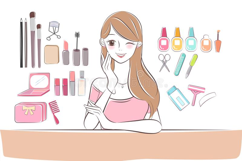 Beauty cartoon skin care woman. On the white background vector illustration