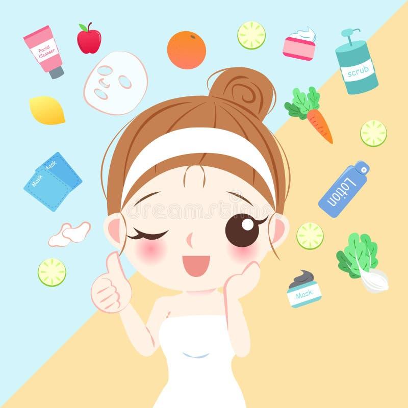 Beauty cartoon skin care woman. On the yellow background stock illustration