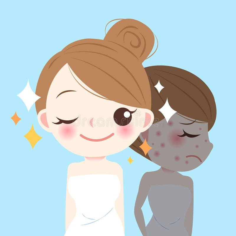 Beauty cartoon skincare woman stock illustration