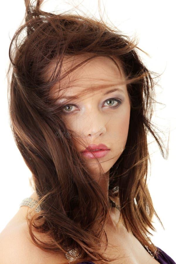 Beauty caucasian woman face stock photo
