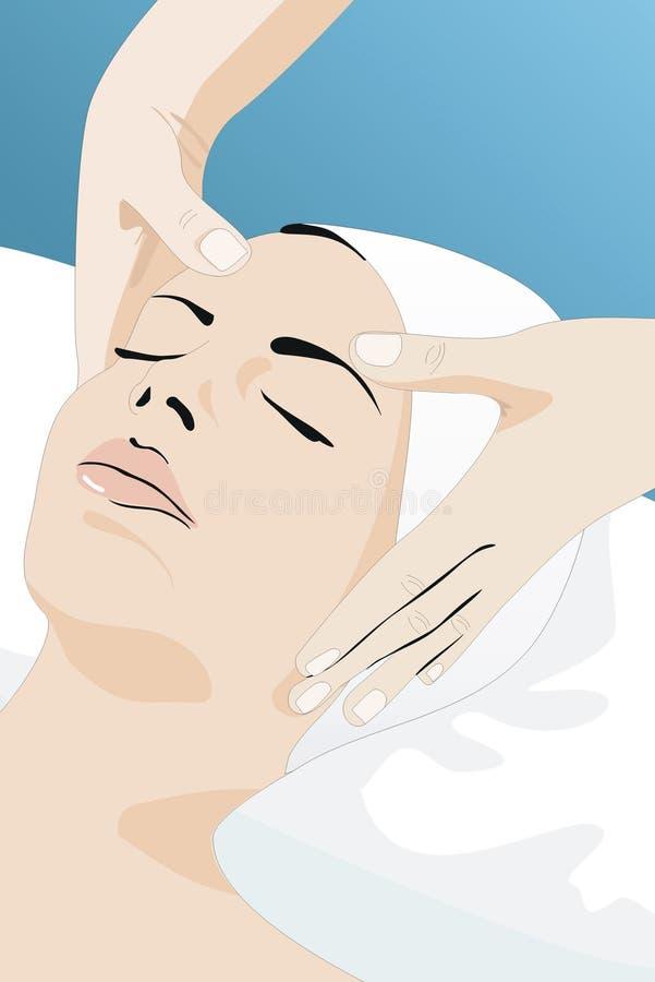 Beauty center. A facial massage in a beauty center