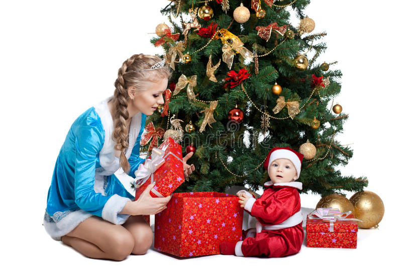 Beauty Christmas Girl Play With Baby Santa Claus Stock Images