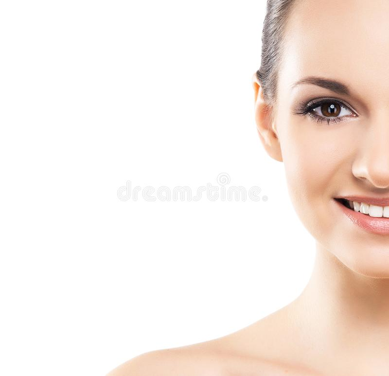 Beauty close-up portrait of beautiful, fresh and healthy girl. Human face isolated on white. stock photos