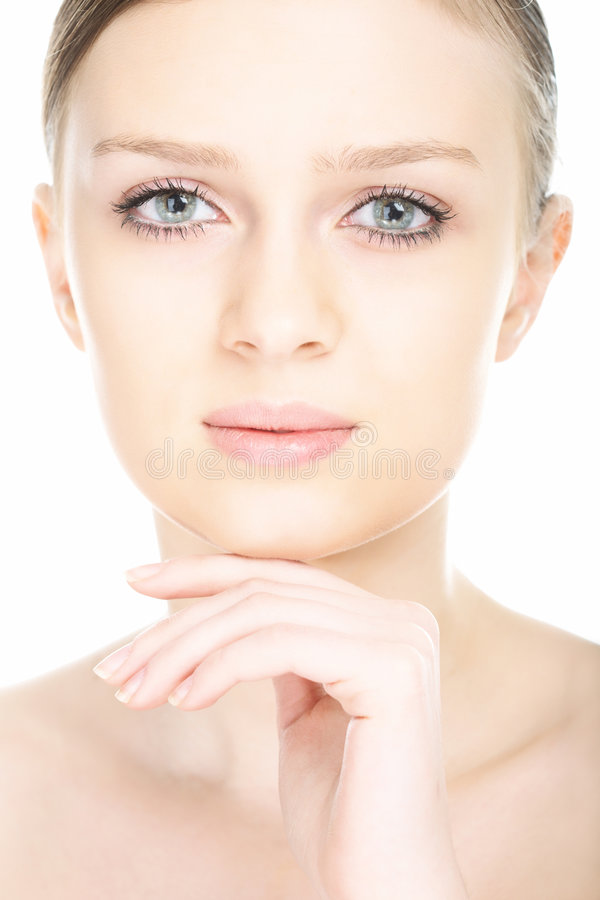Beauty close-up portrait young woman face royalty free stock image