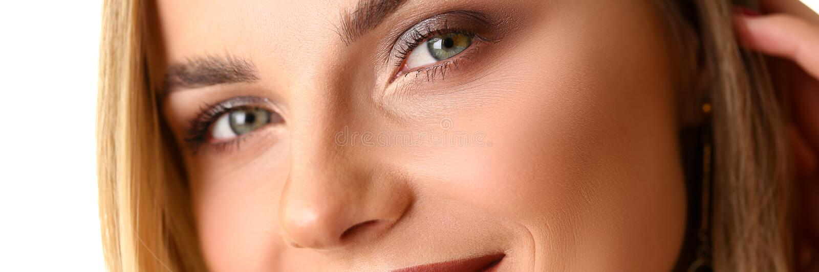 Beauty Closeup Portrait of Caucasian Young Woman stock photos