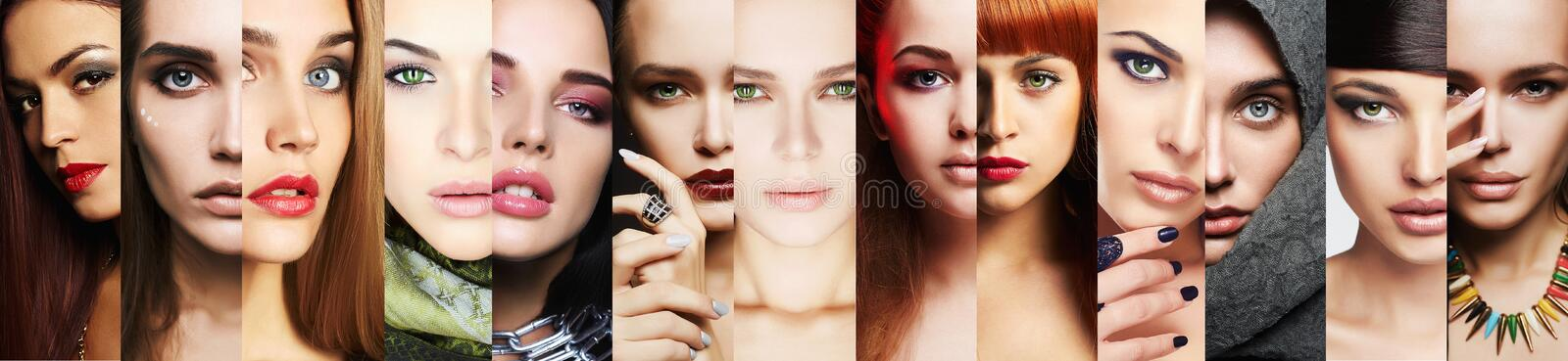 Beauty collage.Faces of women.Make-up close-up stock photography