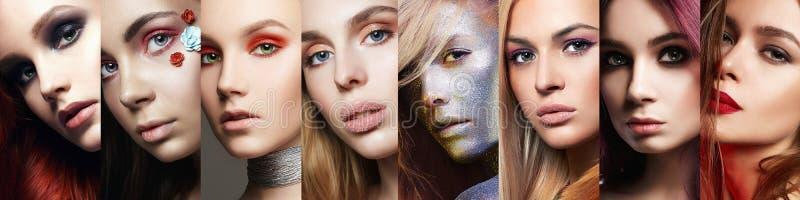 Beauty collage. women. Makeup, beautiful girls stock image