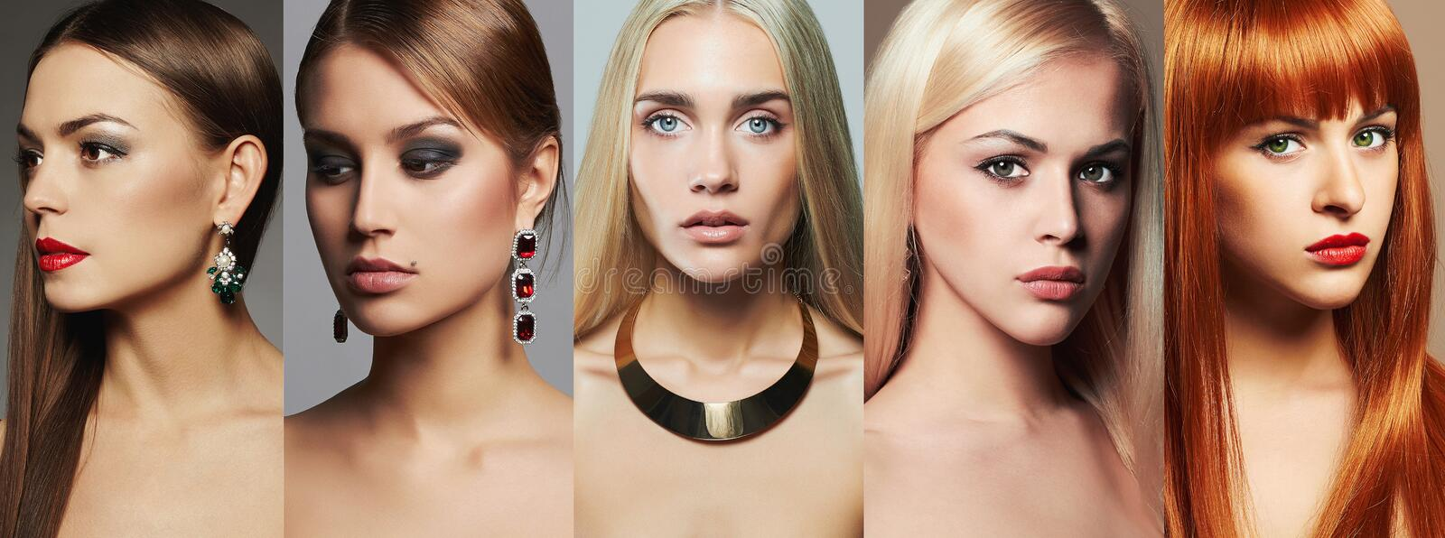 Beauty collage.Makeup,lipstick and eye shadow. Different beautiful girls stock image