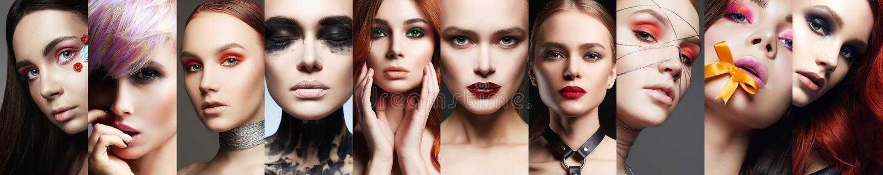 Beauty collage. women. Makeup beautiful girls mosaic stock images