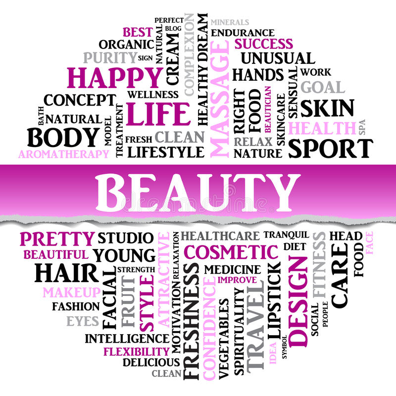 Beauty concept related words in tag round cloud. Vector. Beauty concept related words in tag round cloud with different association sport and fitness terms. The royalty free illustration