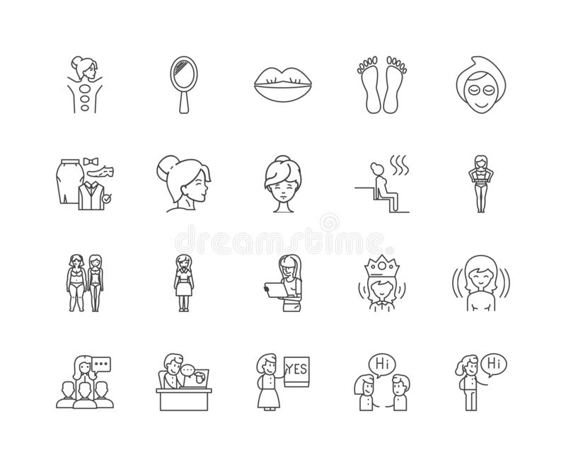 Beauty consultant line icons, signs, vector set, outline illustration concept royalty free illustration