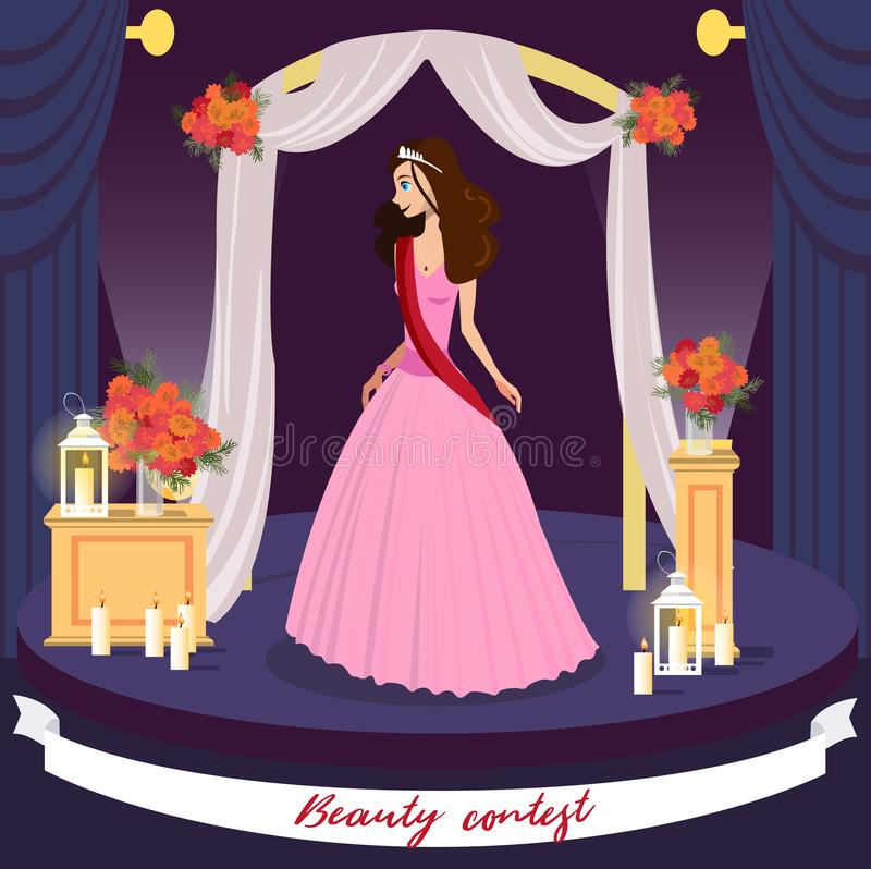 Beauty Contest Winner Vector Greeting Card Concept stock illustration