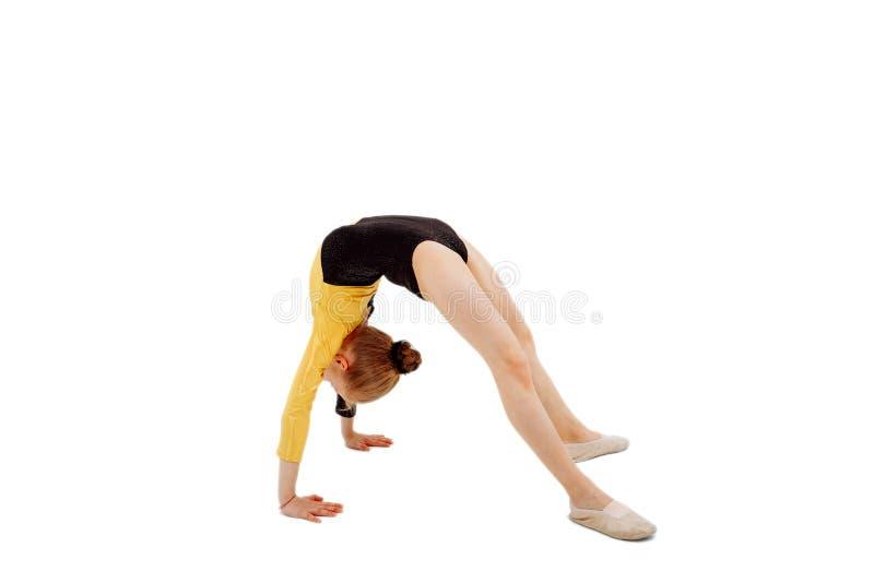 Young professional gymnast girl. Gymnastics, acro royalty free stock photo