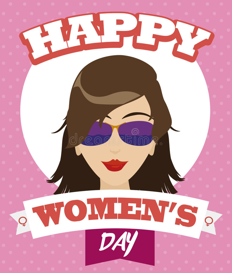 Beauty Cool Woman Ready to Celebrate Women's Day, Vector Illustration stock images