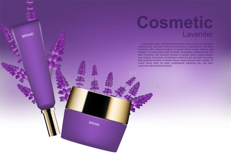 Beauty cosmetic ads cosmetic set with lavender on white and purple background vector illustration