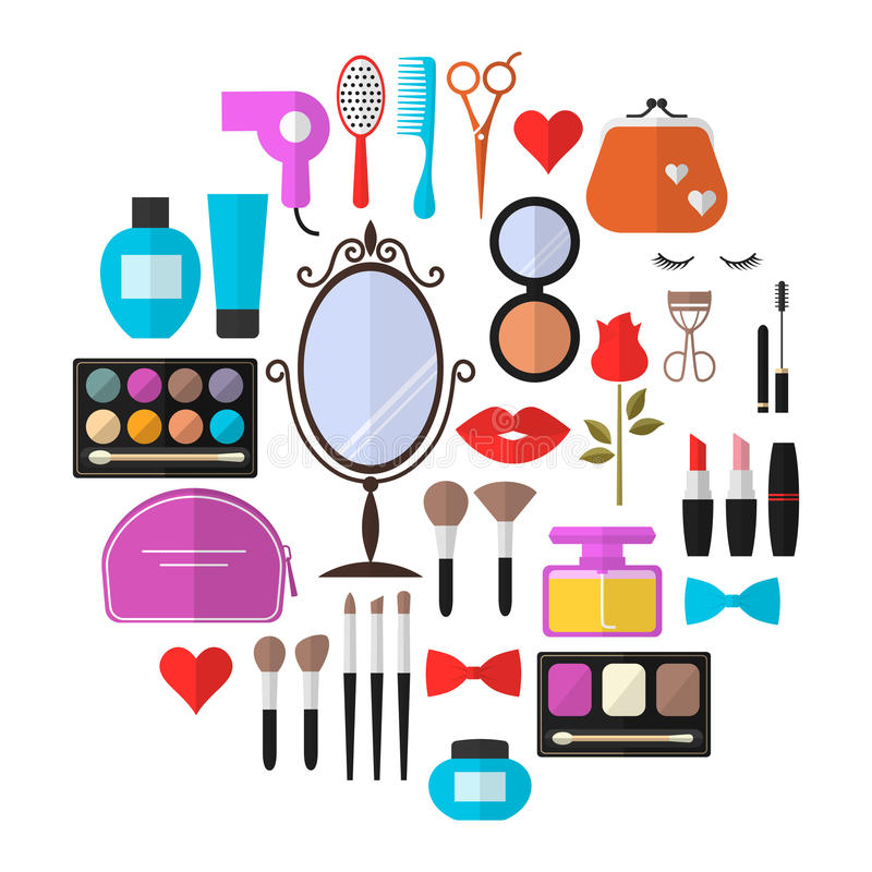 Free Beauty, Cosmetic And Makeup Vector Flat Icons Royalty Free Stock Photography - 70031387